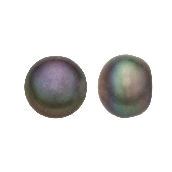 Freshwater Cultured Half-Drilled Button Pearls, Raven's Wing, A-Grade