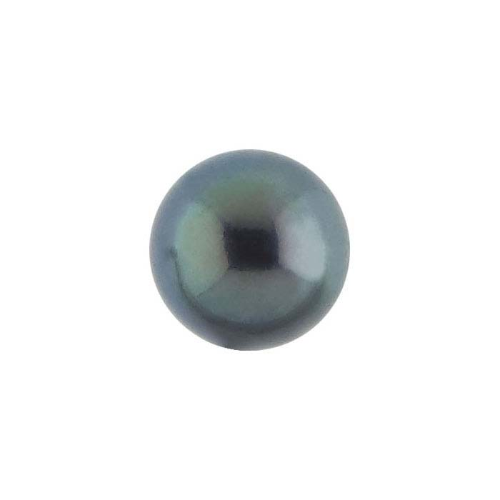 Freshwater Cultured Half-Drilled 6mm Round Pearl, Black, A-Grade