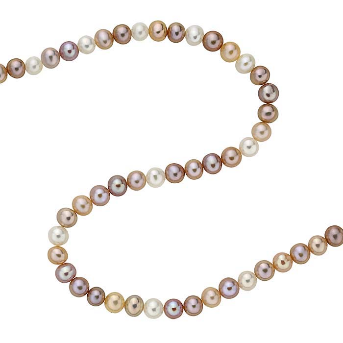 Freshwater Cultured Round Pearl Strands, White, Peach, and Lavender, A-Grade