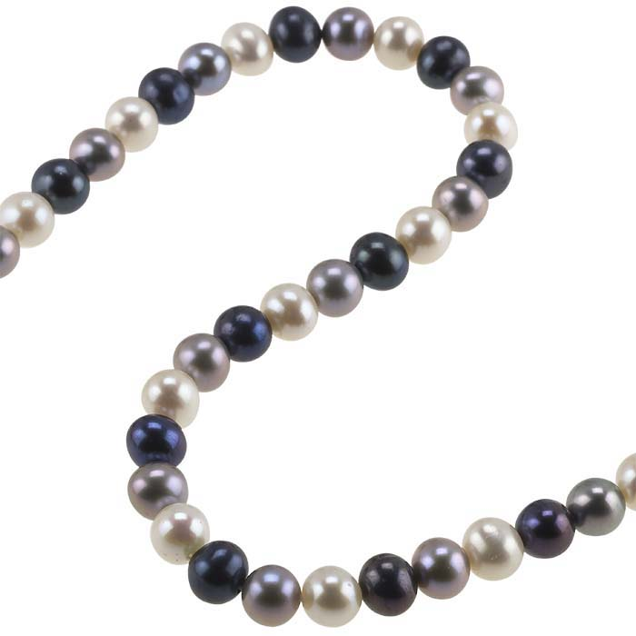 Freshwater Cultured Round Pearl Strands, Black, Gray, and White, A-Grade