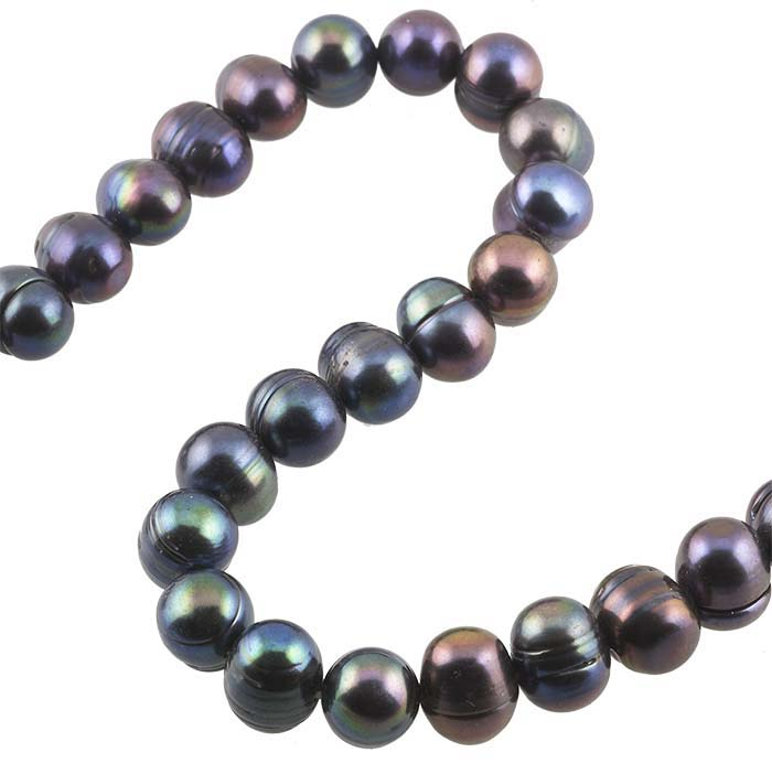 Freshwater Cultured 9–10mm Potato-Shaped Pearl Strand, Raven's Wing, A-Grade