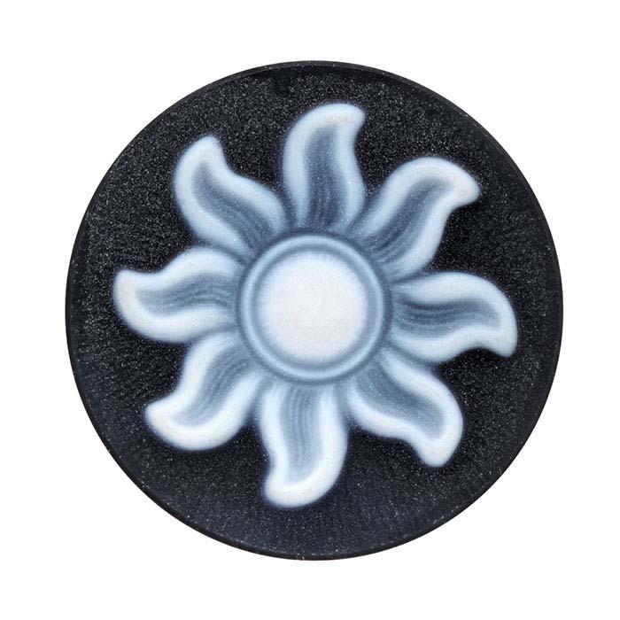 Black Agate 20mm Round Sunburst Cameo