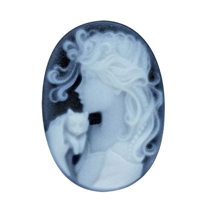 Black Agate 18 x 13mm Oval Lady and Kitten Cameo