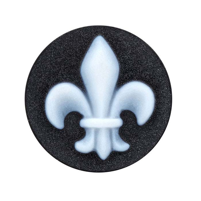 Black Agate 16mm Round Fleur-de-Lis Cameo