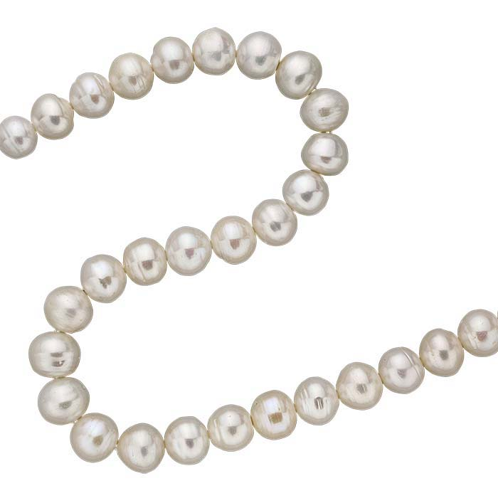 Freshwater Cultured 11.5–13mm Potato-Shaped Pearl Strand, White, A-Grade