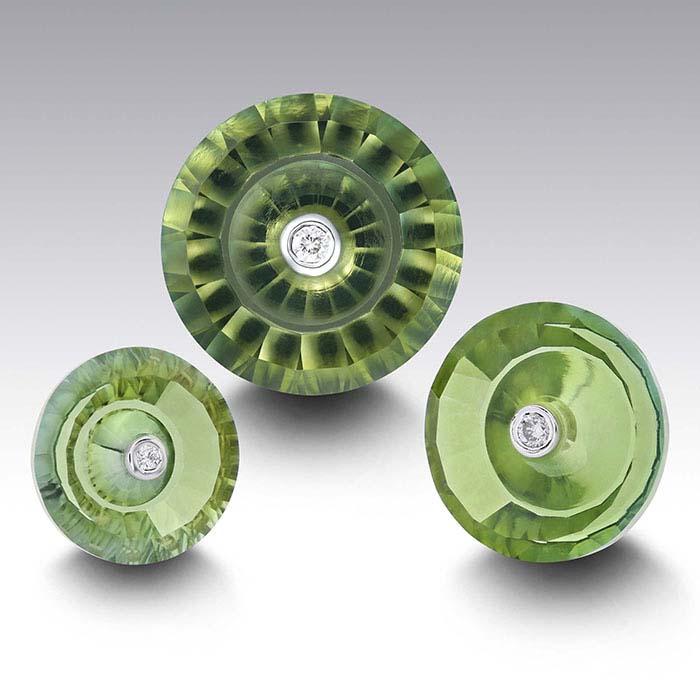 Lehrer TorusRing™ Fern Green Quartz Round Faceted Stones