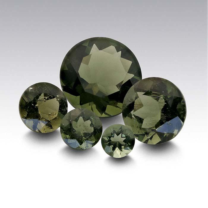 Moldavite Round Faceted Stones