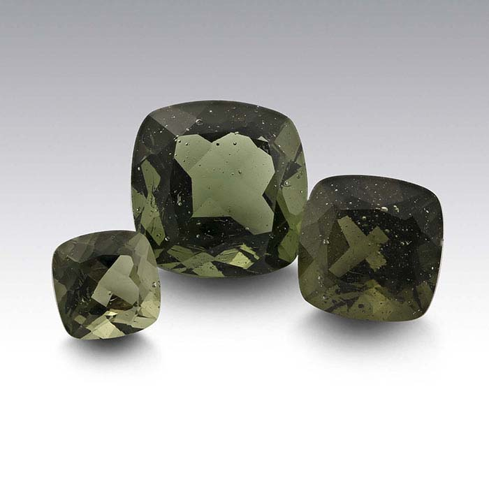 Moldavite Cushion Faceted Stones