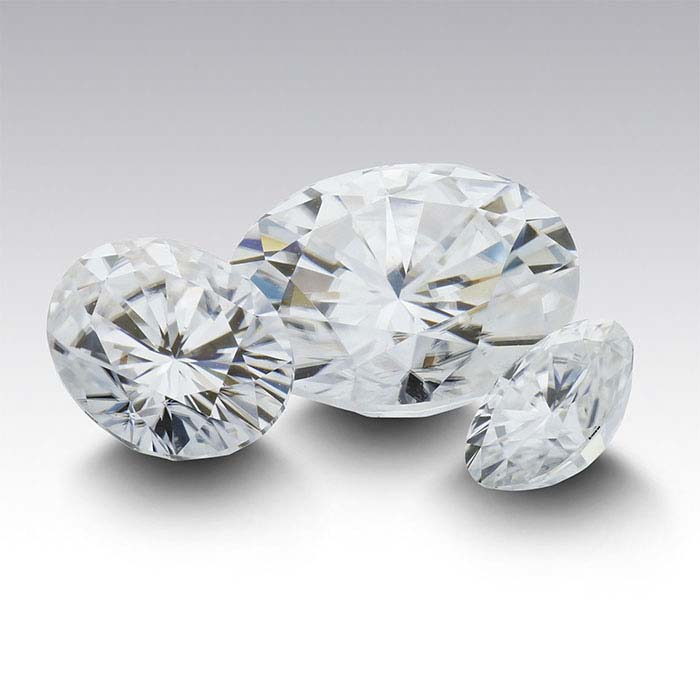 Lab-Created White Sapphire Oval Faceted Stones
