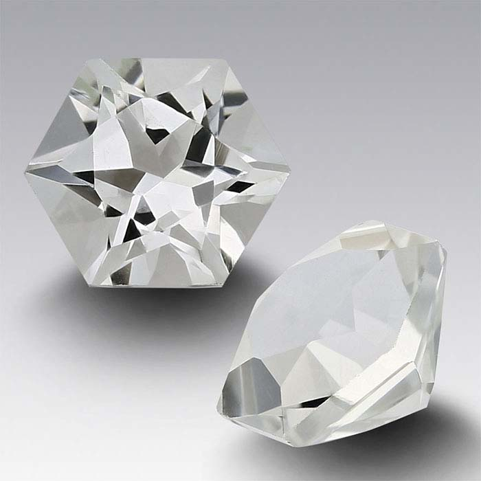 American Mined™ Arkansas Ice Quartz™ 5mm Hexagon Faceted Stone, AAA-Grade