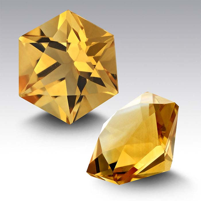 Citrine 8mm Hexagon Faceted Stone