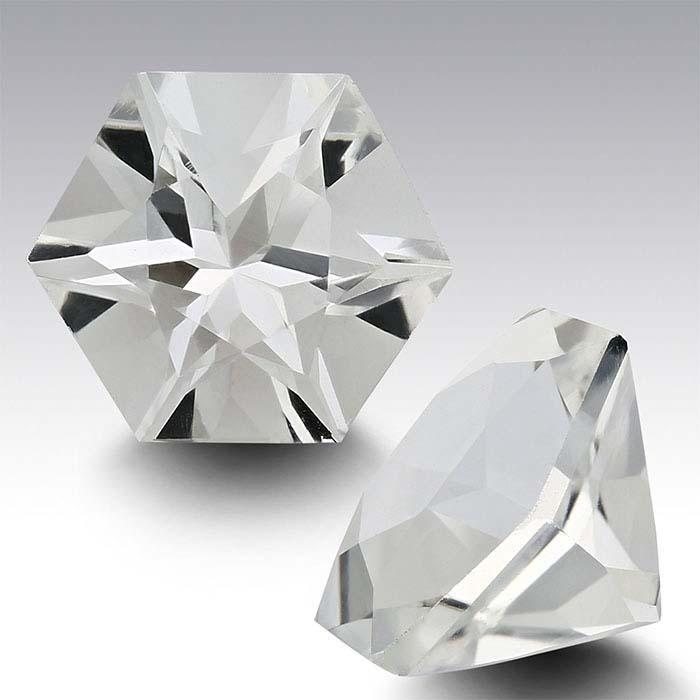 American Mined™ Arkansas Ice Quartz™ 8mm Hexagon Faceted Stone, AAA-Grade