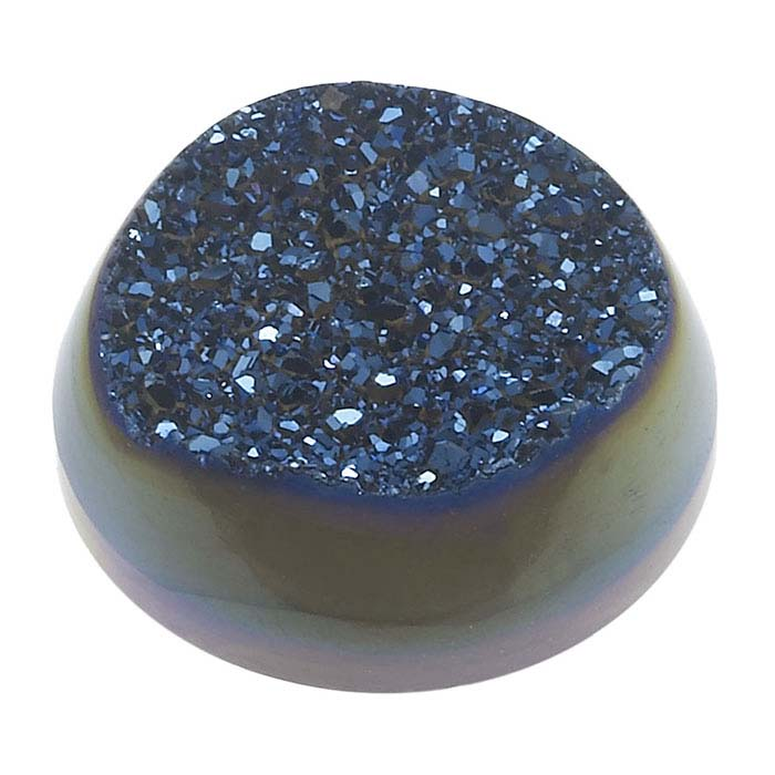 Cobalt Window Druzy Quartz 20mm Round Cabochon