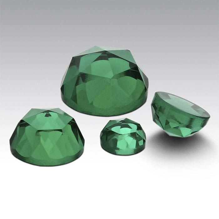 Lab-Created Emerald Round Rose-Cut Cabochons