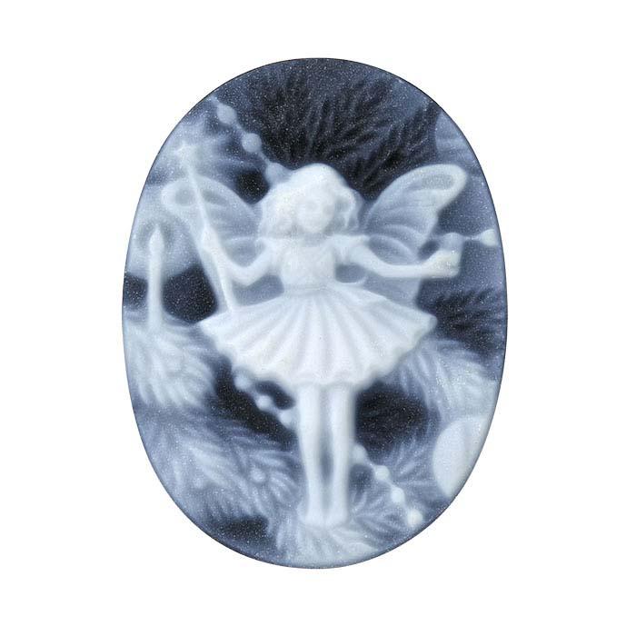 "Flower Fairies™ Black Agate 20 x 15mm Oval ""Christmas Tree Fairy"" Cameo"