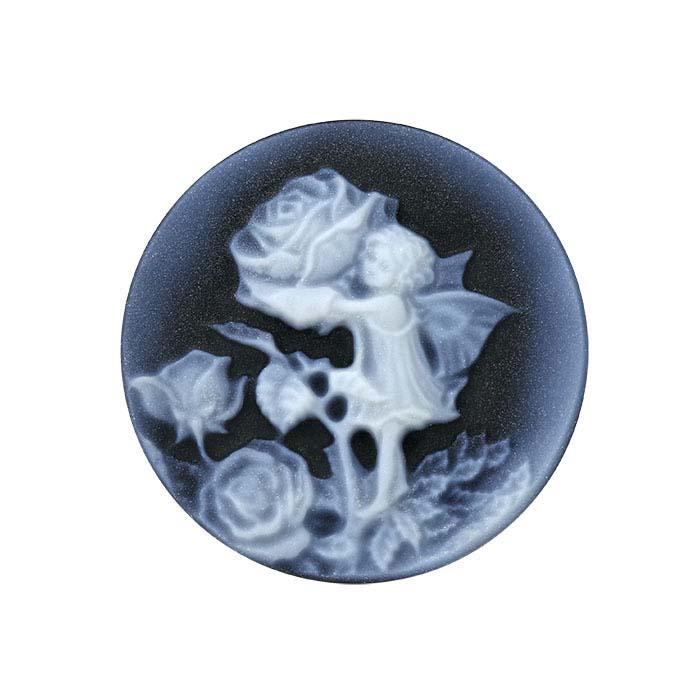 "Flower Fairies™ Black Agate 20mm Round ""Rose Fairy"" Cameo"