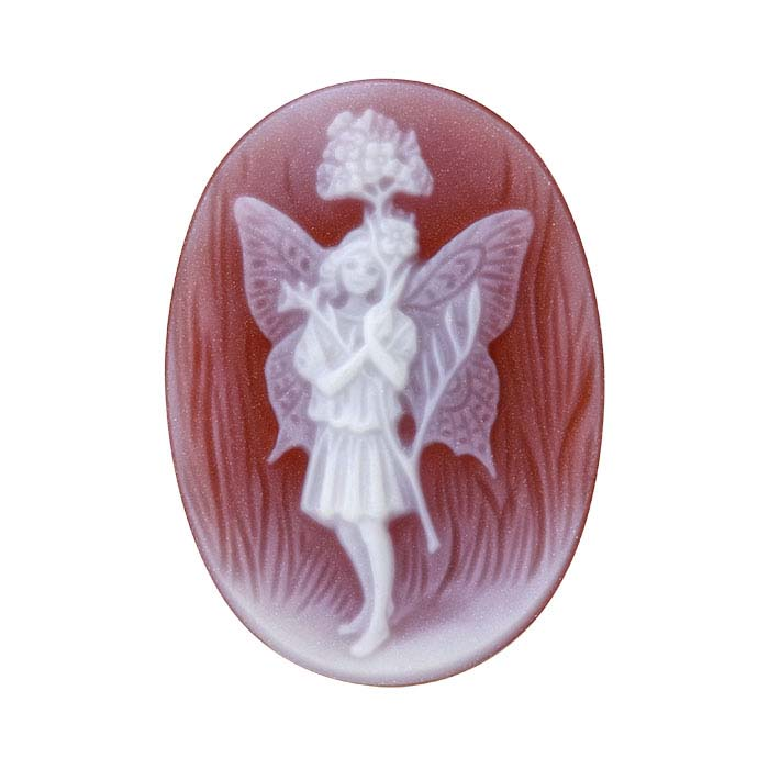 """Flower Fairies™ Red Agate 25 x 18mm Oval """"Lady's Smock Fairy"""" Cameo"""