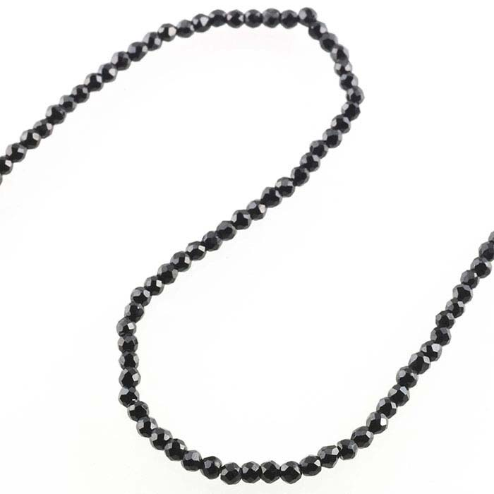 Black Spinel Faceted Round Beads