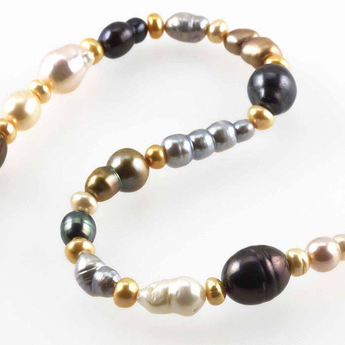 Freshwater cultured random-size baroque pearl strand