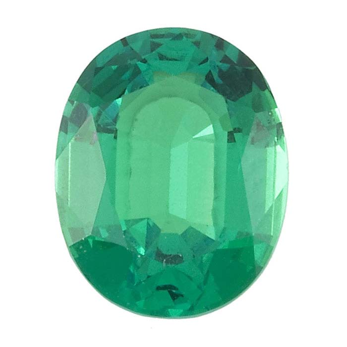 Lab-Created Emerald Oval Faceted Stones