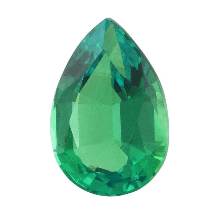 Real Life Emerald: Lab-Created Emerald 9 X 6mm Pear Faceted Stone