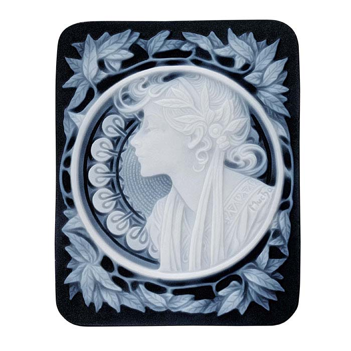 "Alphonse Mucha Black Agate 50 x 40mm ""Laurel"" Signature Cameo"