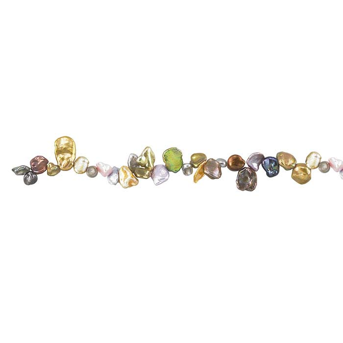 Freshwater Cultured Keshi Pearl Strand, Green, Gold, Pink, and Gray, A-Grade