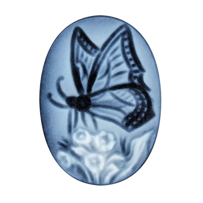 Black Agate 18 x 13mm Oval Butterfly Cameo