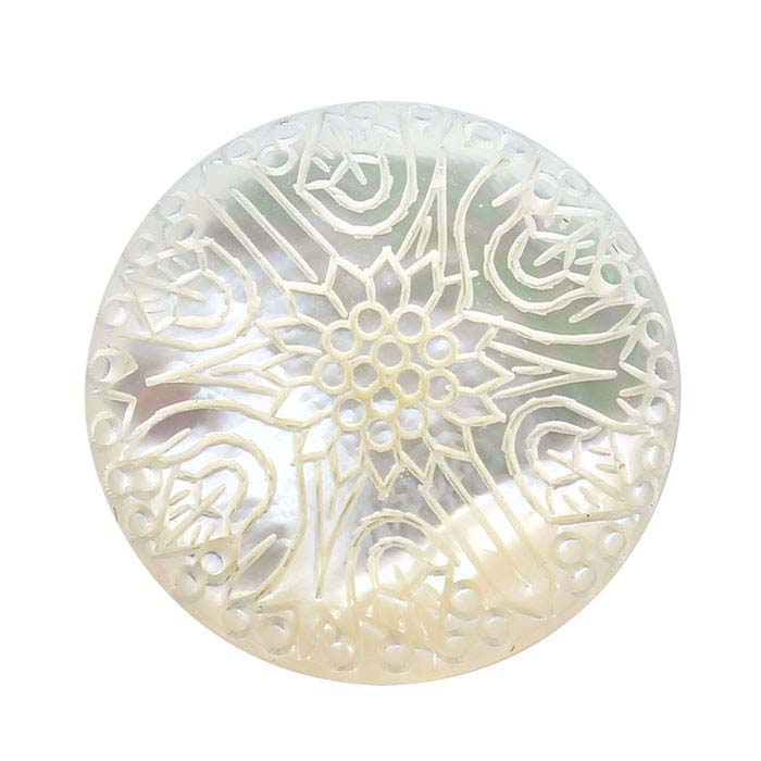 "Carved ""Chrysanthemum"" Mother-of-Pearl 25mm Round Cabochon"