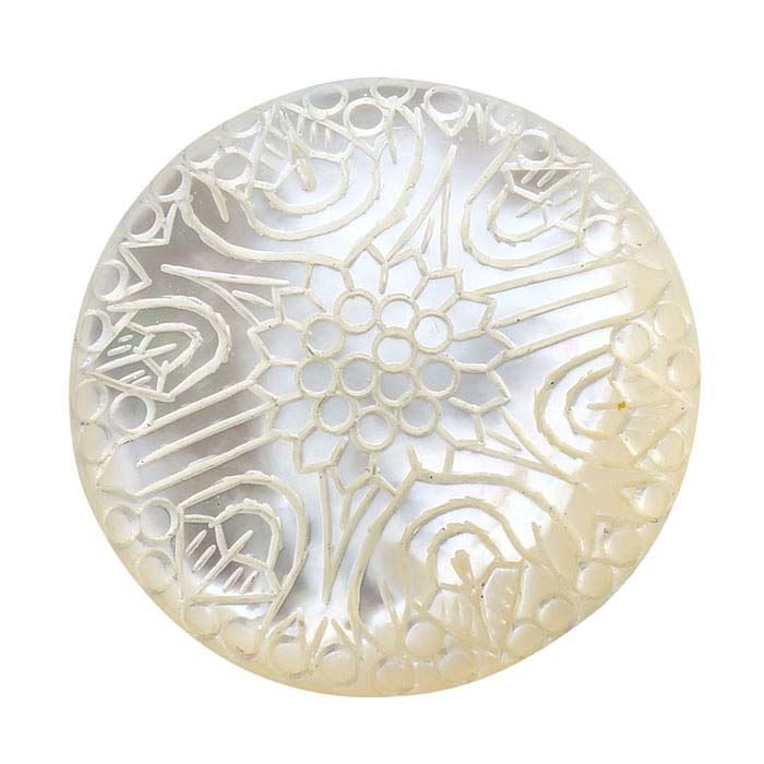 "Carved ""Chrysanthemum"" Mother-of-Pearl 30mm Round Cabochon"