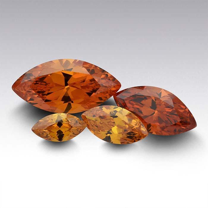 Orange CZ Marquise Faceted Stones