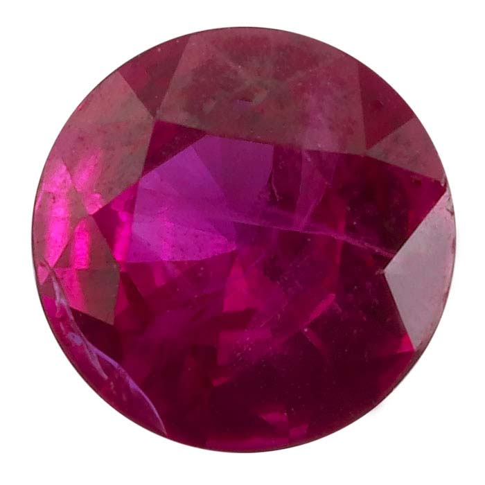 Ruby 5mm Round Faceted Stone, AAA-Grade