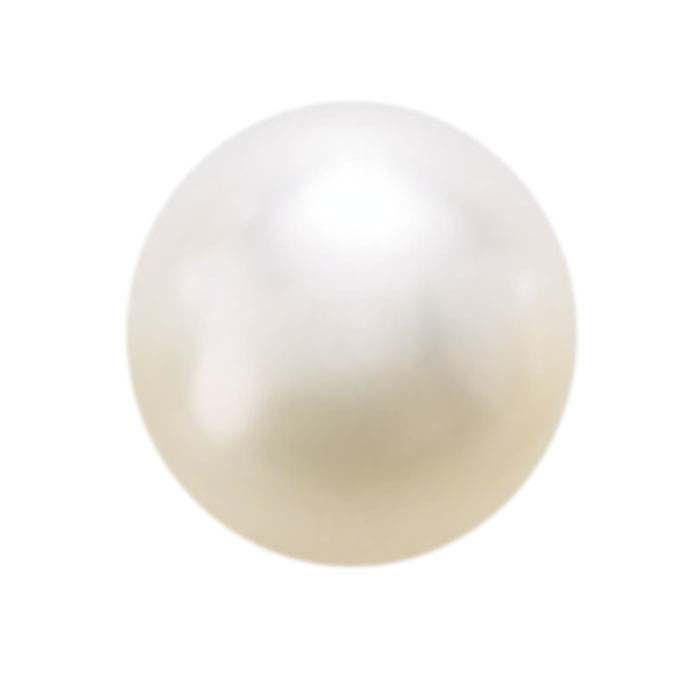 Akoya Cultured Half-Drilled 6mm Round Pearl, White, AA-Grade