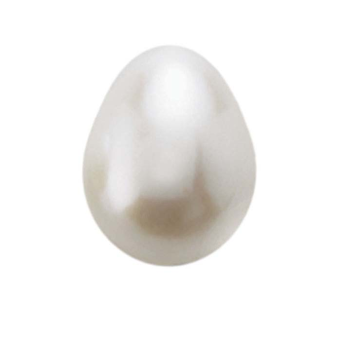 Freshwater Cultured Half-Drilled 9.25 x 7.5mm Drop Pearl, White, A-Grade