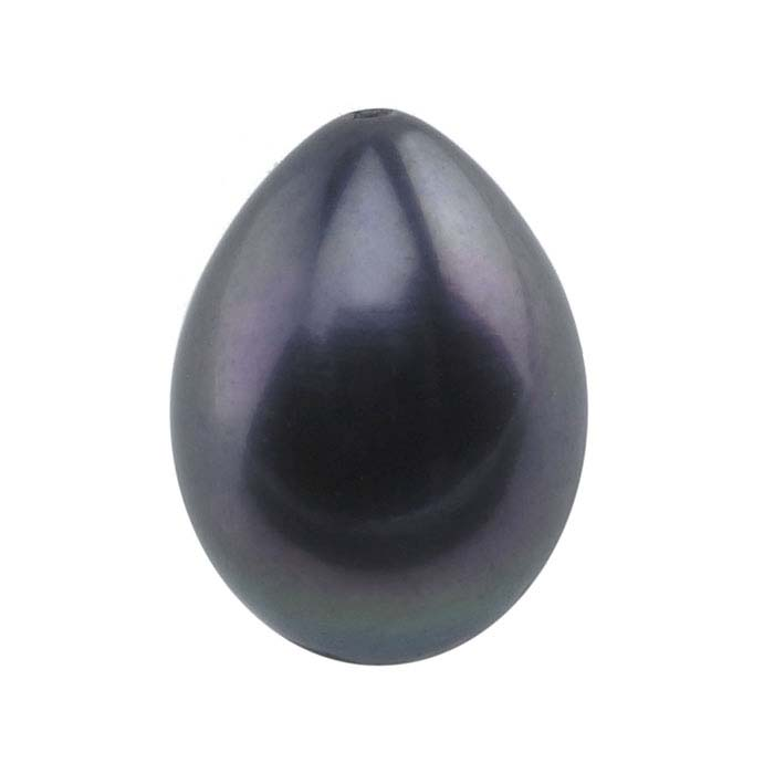 Freshwater Cultured Half-Drilled 9–10mm Drop Pearl, Black, A-Grade