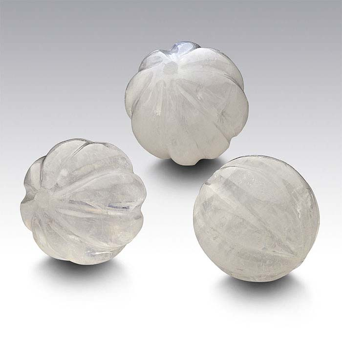 Rainbow Moonstone Half-Drilled 8mm Round Carved Bead