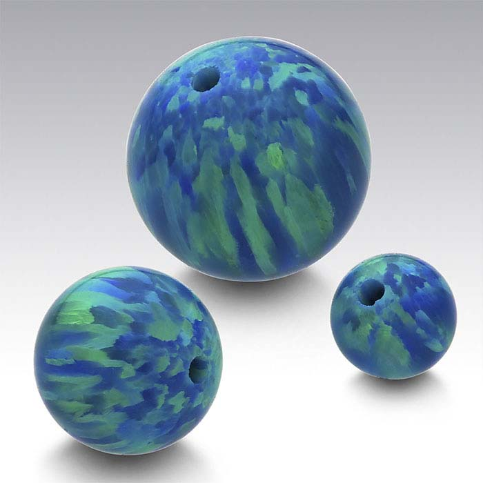 Kyocera Peacock Opal Half-Drilled Beads