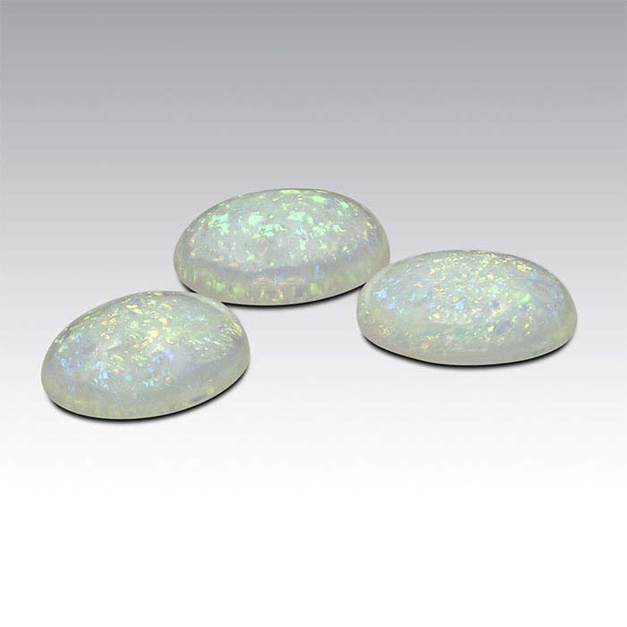 Sterling-Created Nova-Style Lab-Grown Opal Oval Cabochons