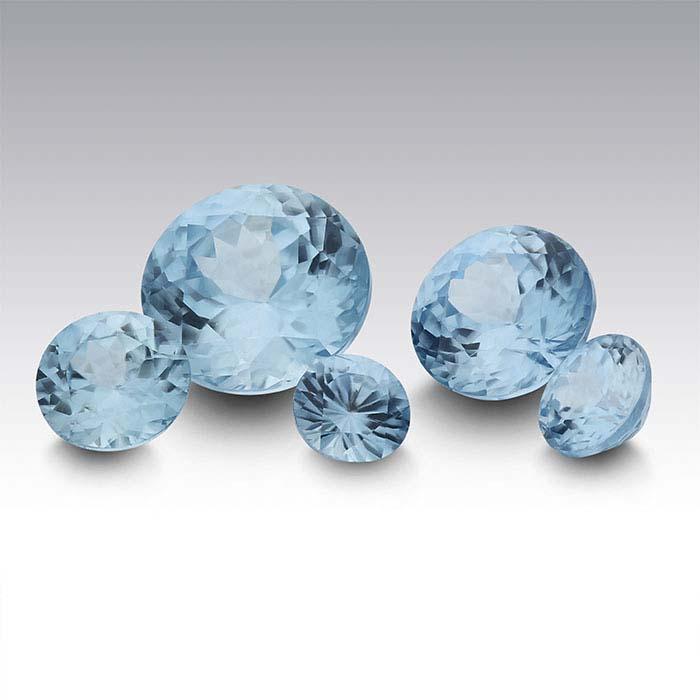 Blue Zircon Round Faceted Stones, AA Grade