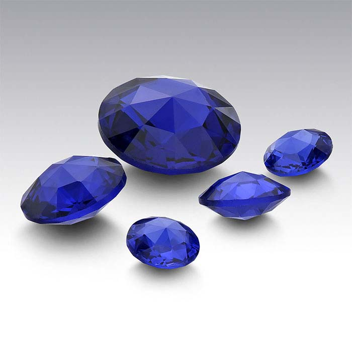 Simulated Sapphire Round Double Rose-Cut Stones