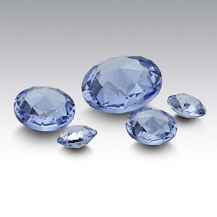 Simulated Aquamarine Round Double Rose-Cut Stones
