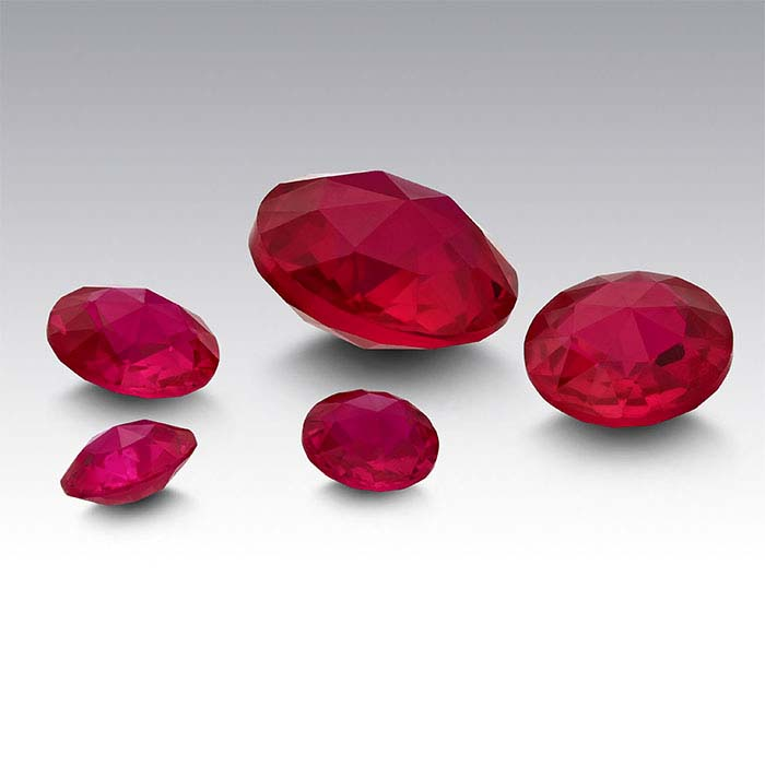 Lab-Created Ruby Round Double Rose-Cut Stones