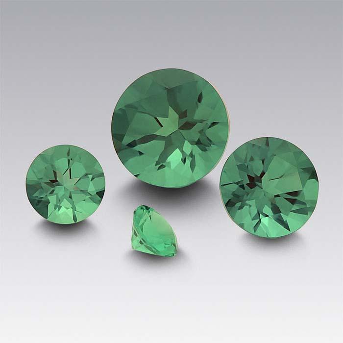Lab-Created Emerald Round Faceted Stones