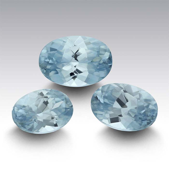 Blue Zircon Oval Faceted Stones, AA Grade