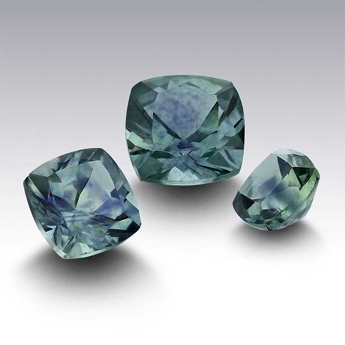 American Mined™ Teal Montana Sapphire™ Cushion Faceted Stones