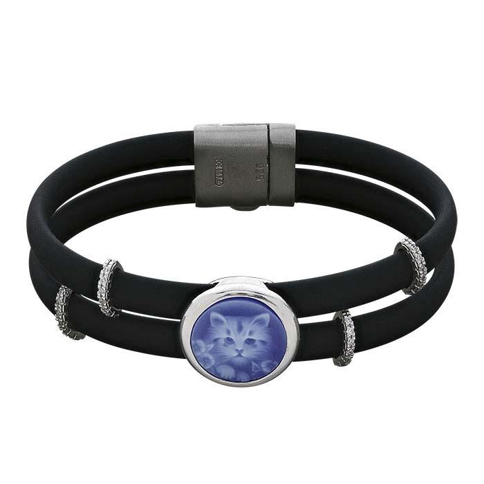 Black Rubber Cord Bracelet with Kitten Cameo