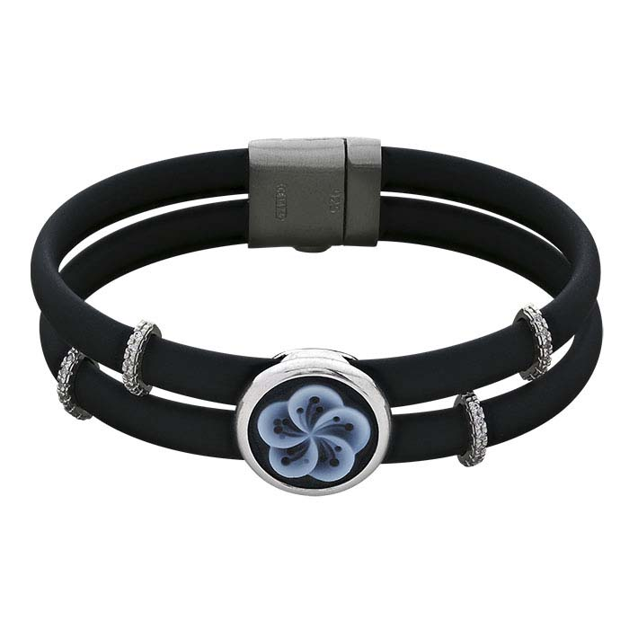 Black Rubber Cord Bracelet with Flower Cameo