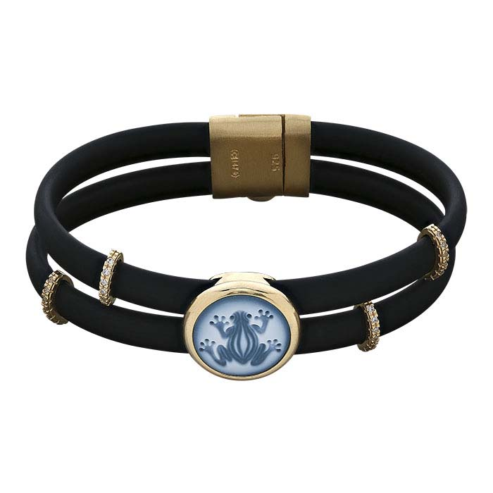 Black Rubber Cord Bracelet with Frog Cameo