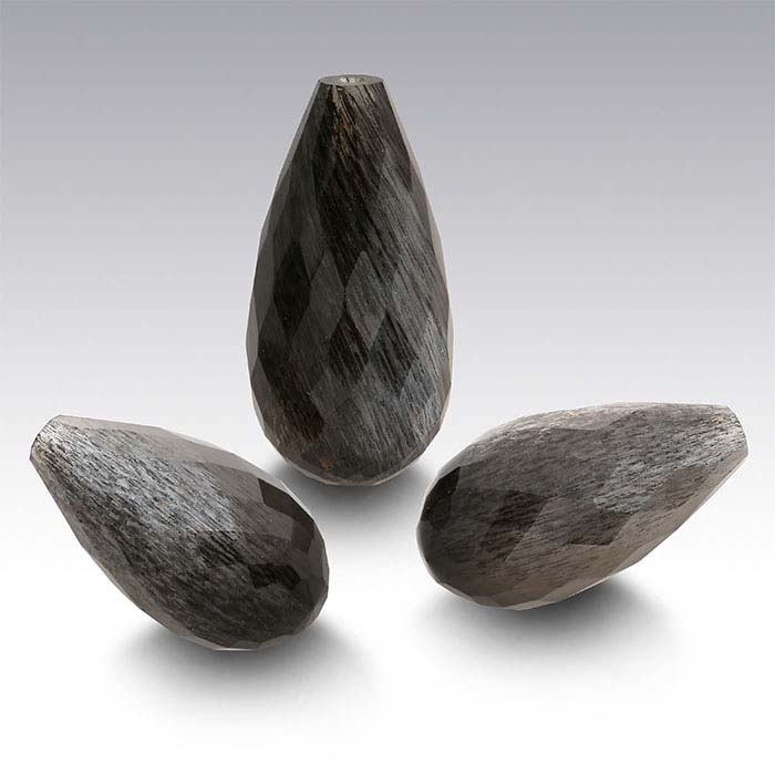 Black Sunstone Briolette Pendants