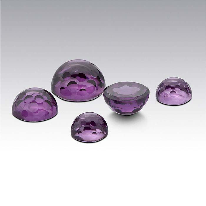 Purple CZ Round Bubble-Cut Cabochons